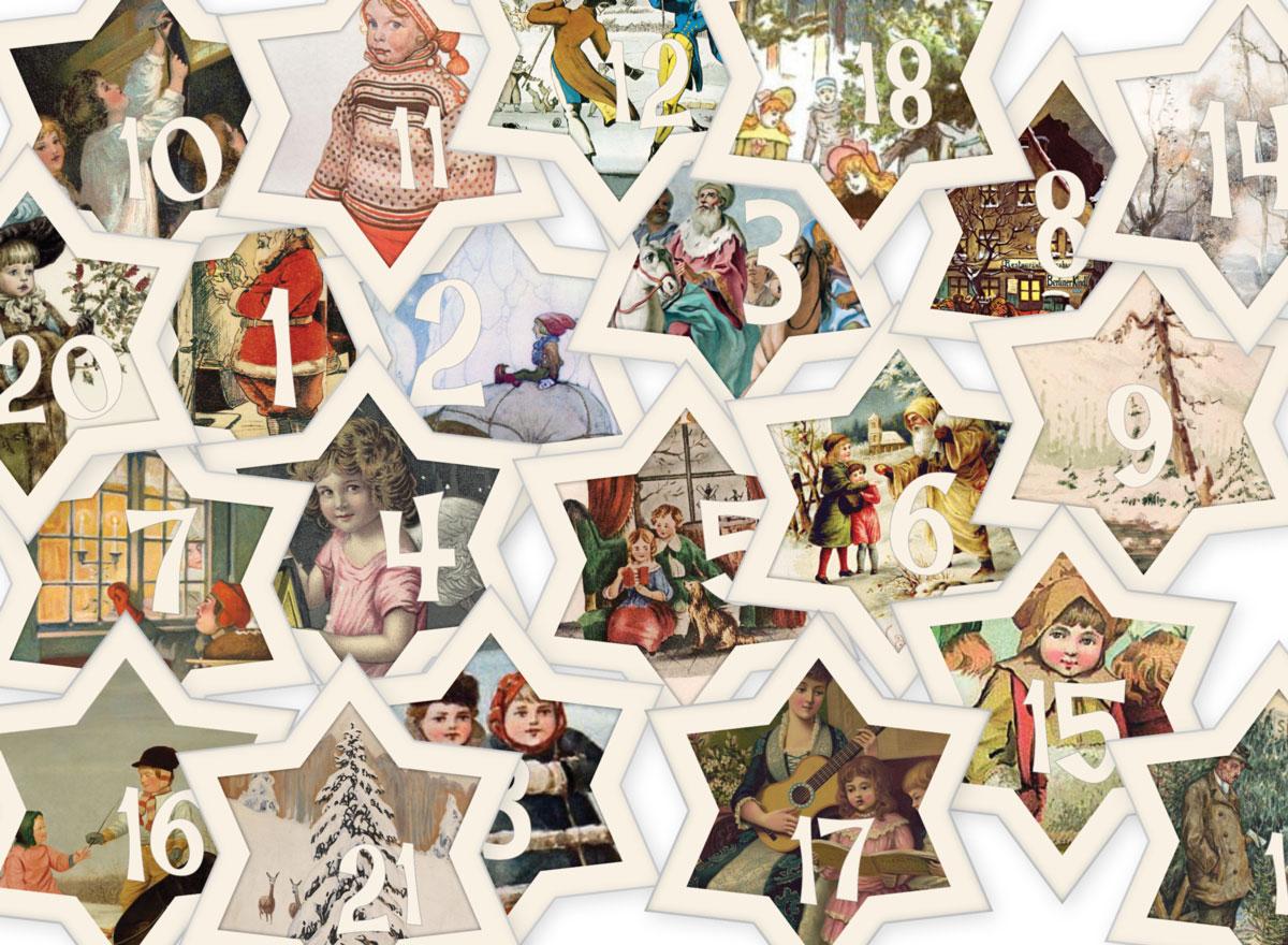 Vintage Adventskalender Sterne Jalara Verlag kostenloser Download und Ausdruck PDF