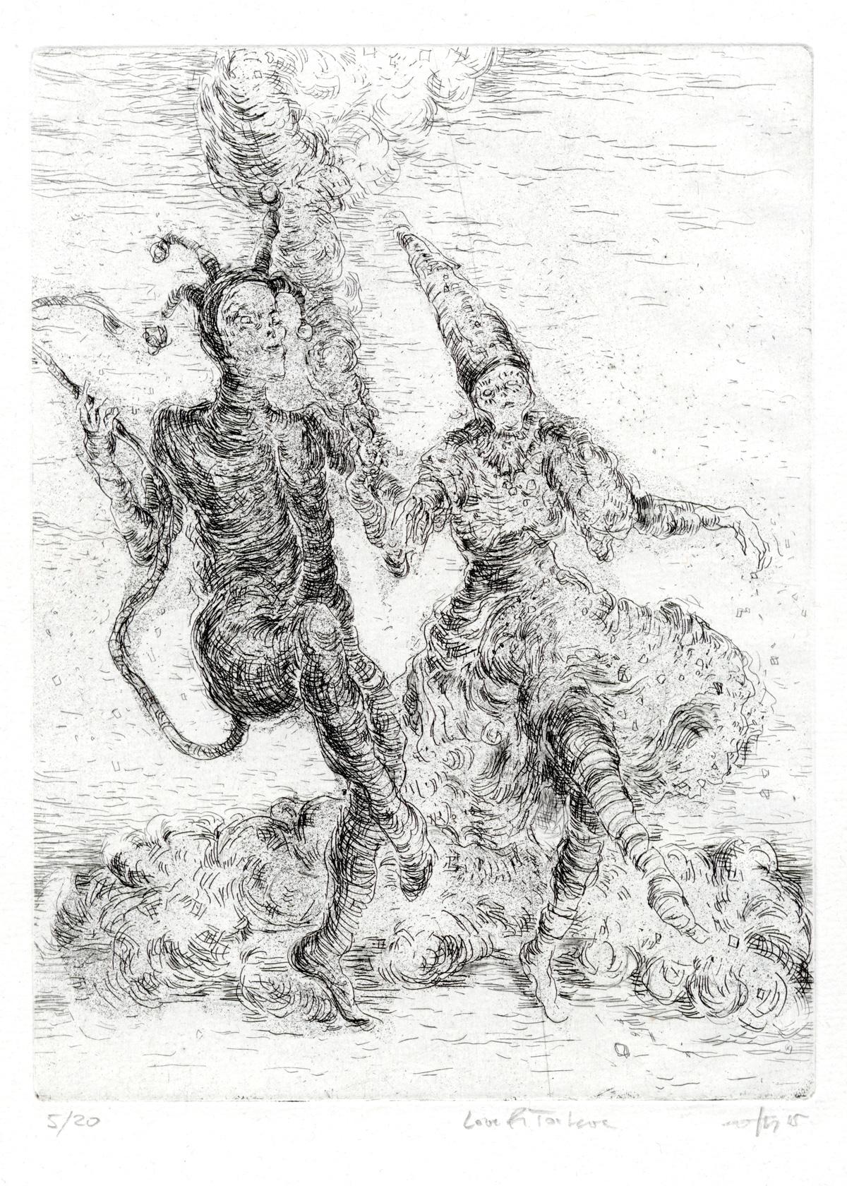 Love and Torture, 2015, Ätzradierung und Kaltnadel auf Bütten, 29 x 21 cm