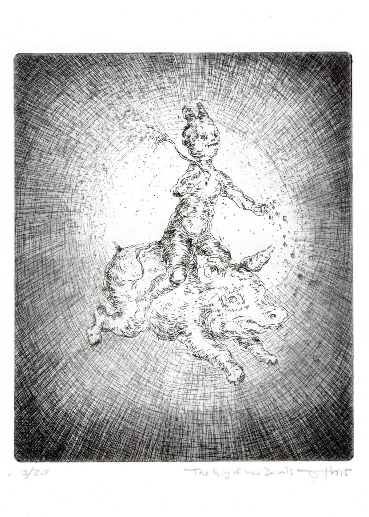The King of inner Devils,2015, Ätzradierung und Kaltnadel auf Bütten, 29 x 21 cm